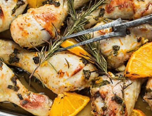 Pollo al forno con arancia e miele, kip met sinaasappel en honing